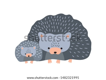 Hedgehog with baby isolated on white background. Cute family of funny wild nocturnal forest animals. Parent with youngling, mother and child or offspring. Flat cartoon colorful vector illustration. Stockfoto ©