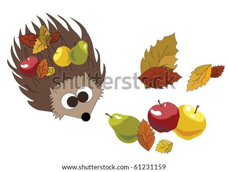 Hedgehog with Fruits and Autumn Leaves