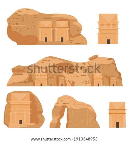 Hegra Saudi Arabia Ancient Village Vector Illustrations Set. AlULa, Mada'in Saleh, Elephant Rock, Qasr al-Farid, Tombs.