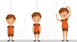 Height of child grow up. Little boy measuring his height on white color background. One boy in three levels. Short, medium, high,Height. difference child growth concepts.