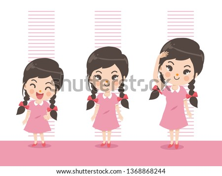 Height of child grow up. Little girl measuring his height on white color background. One girl in three levels. Short, medium, high,Height. difference child growth concepts.