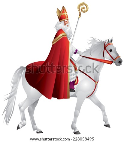 Heilige Nikolaus, Sinterklaas on the horse, winter holiday figure based on Saint Nicholas, Bishop of Myra, model for Santa Claus, celebrated with the giving of gifts on eve and feast of Saint Nicholas