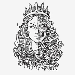 Hel goddess of Norse , lady of the world of the dead. Isolated on a white background.