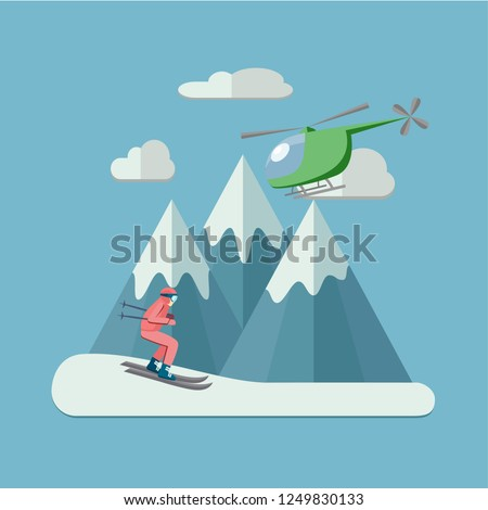 heli skiing flat illustration