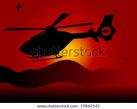 helicopter against the orange
