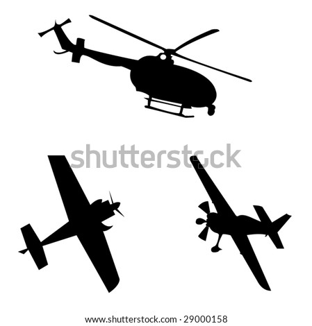 helicopter and plane silhouettes vector illustrations