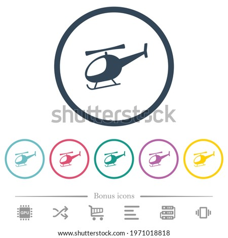 helicopter flat color icons in