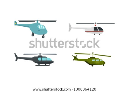 Helicopter icon set. Flat set of helicopter vector icons for web design isolated on white background