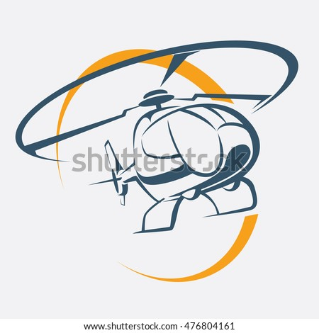 helicopter icon, stylized vector symbol