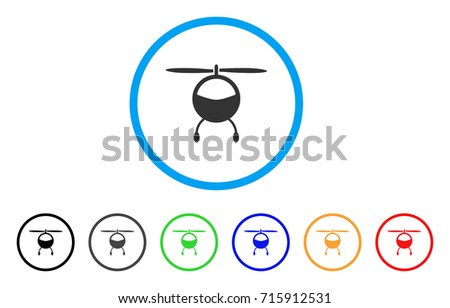 Helicopter icon. Vector illustration style is a flat iconic helicopter grey rounded symbol inside light blue circle with black, gray, green, blue, red, orange color additional versions.