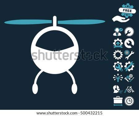 Helicopter icon with bonus setup tools icon set. Vector illustration style is flat iconic symbols, blue and white colors, dark blue background.