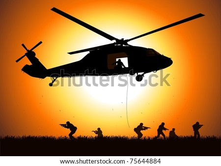 helicopter is dropping the