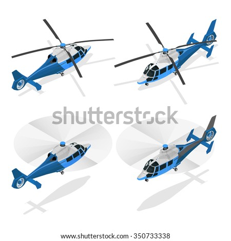Helicopter isometric icon. Air transport for travel and work. Industrial air transport.