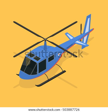 Helicopter Isometric View Vector blue icon of fly over from top. Small private aircraft on the yellow background. Illustration of vehicle cartoon copter travel