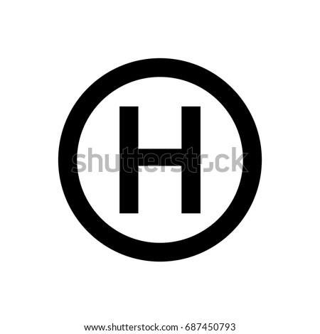 Helicopter landing pad icon.