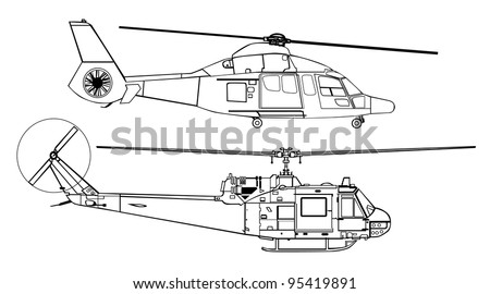 helicopter line drawing diagram