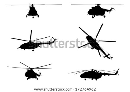 helicopter of set silhouette