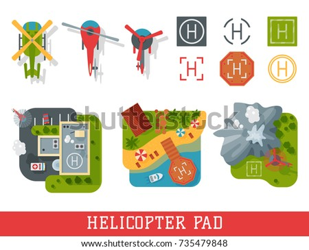 Helicopter pad landing ground landing area platform vector top view illustration