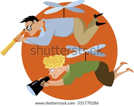 Helicopter parents hovering with a telescope and a binoculars, EPS 8 vector illustration