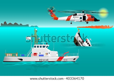 Helicopter rescue teams and ship at sea. Coast security. Sinking boat. Sailor takes a distress signal. The accident on the water. Vector illustration
