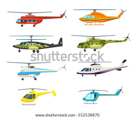 helicopter set isolated on