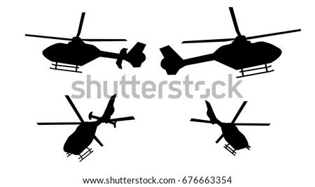 Helicopter silhouette set from side and rear with rudder and rudderless