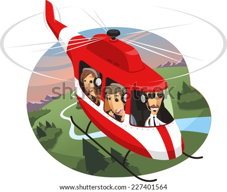 Helicopter Tour Air Travel, vector illustration cartoon.