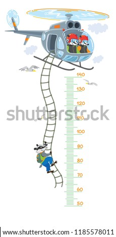 Helicopter with badgers meter wall or height chart