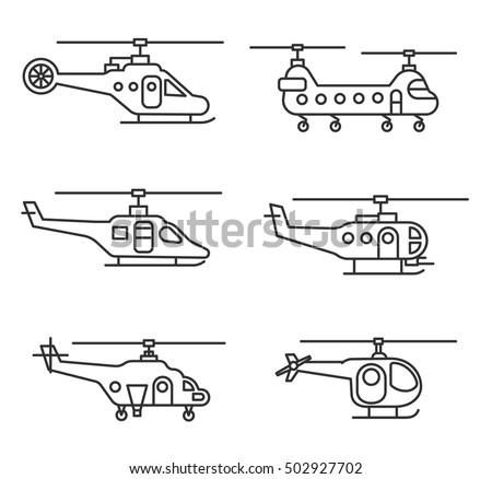 helicopters icons set. aircraft, thin line design. helicopter side, linear symbols collection