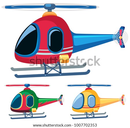 Helicopters in three designs illustration