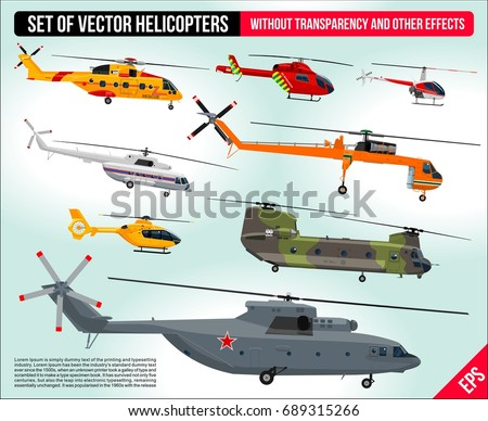 Helicopters set isolated. Civil and army military transport helicopters collection flat design illustration