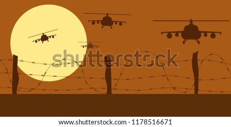helicopters silhouettes and