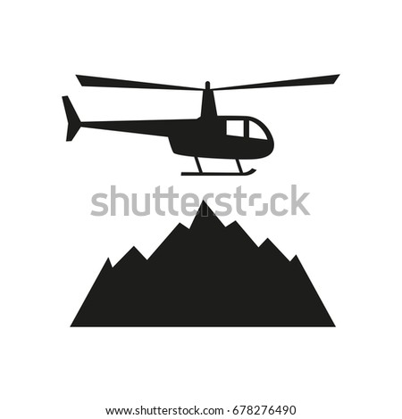 heliskiing flat icon with