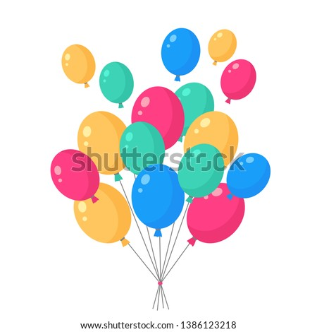 Helium air balloon, balls isolated on background. Happy birthday, party concept. Vector flat design