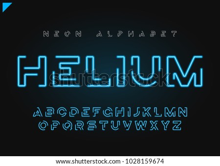 Helium vector futuristic linear neon alphabet, typeface, letters, font, typography. Global swatches.
