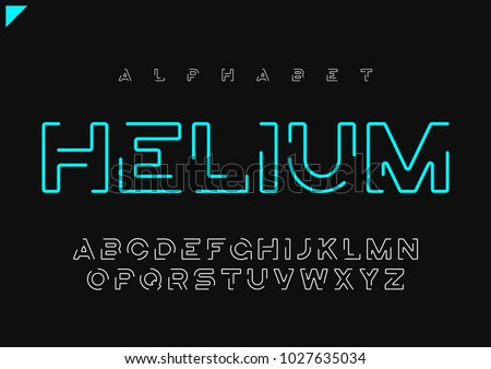 Helium vector minimalist futuristic linear alphabet, typeface, letters, font, typography. Global swatches.