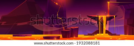 Hell landscape, infernal hot volcano cave with lava flow from cracked stones, rocks floating in liquid magma, computer game background, underground panoramic wallpaper, Cartoon vector illustration Сток-фото ©