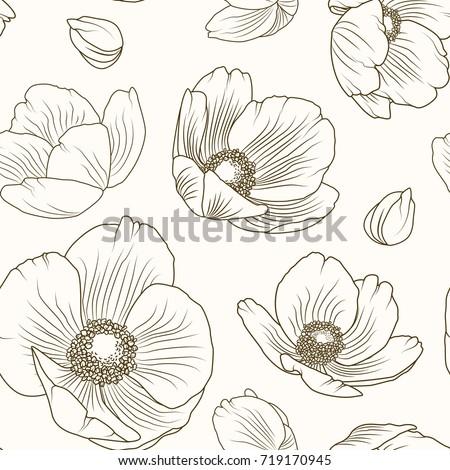 Hellebore floral summer autumn seamless pattern. Winter Christmas rose. Lenten rose. Poppy flowers field meadow backdrop texture. Sepia brown outline on beige background. Vector design illustration.