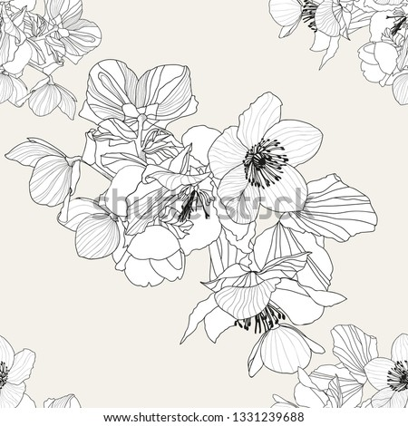 Hellebores flowers and leaves in white colour and  black outline on light grey shade background seamless vector pattern.  #1331239688