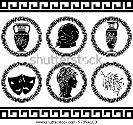 hellenic buttons. stencil. fourth variant. vector illustration