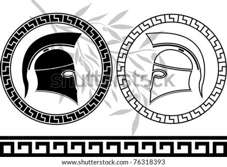hellenic helmets and olive branch. stencils. vector illustration