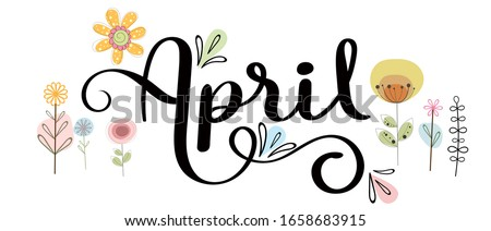 Hello April. APRIL month vector with flowers and leaves. Cute Decoration floral. Illustration month april   Foto d'archivio ©