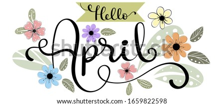 Hello April. April month vector with flowers, birds, butterflies and leaves. Decoration floral. Illustration month April Photo stock ©