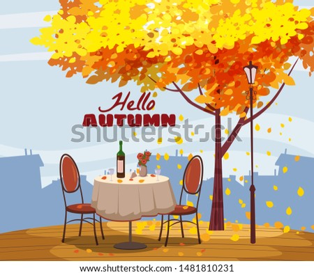 hello autumn cafe table with
