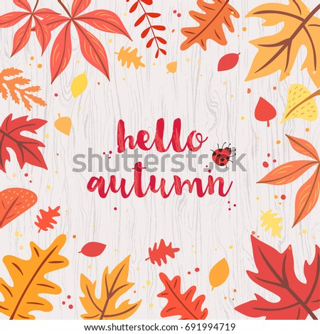 hello autumn card on gray