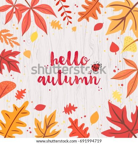hello autumn card on gray
