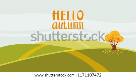 hello autumn color illustration