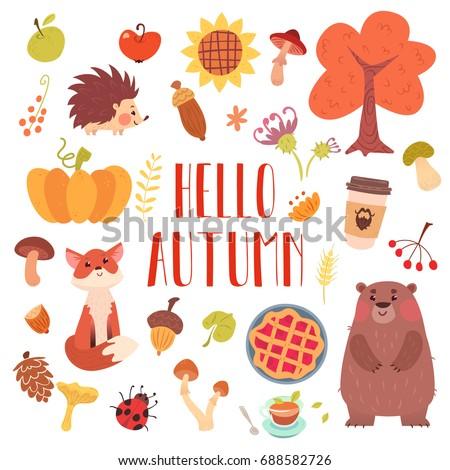 hello autumn cute animals and