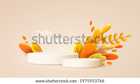 Hello Autumn 3d minimal background with autumn yellow, orange leaves and product podium. 3d Fall leaves background for the design of Fall banners, posters, advertisements, cards, sales. Vector EPS10
