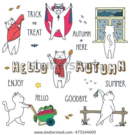hello autumn doodle vector